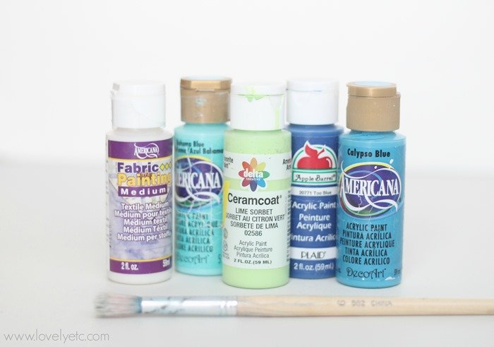 acrylic craft paints and fabric medium for painting pillows.