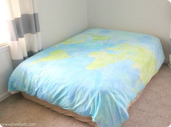 Painted world map duvet cover