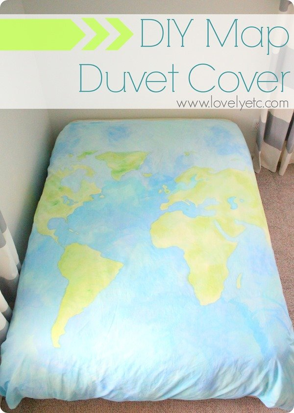 diy map duvet cover