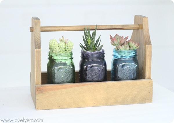 mason jar succulent trio