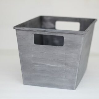 silver painted plastic bins
