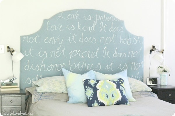 DIY upholstered headboard and watercolor painted pillows