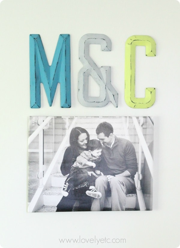 DIY photo canvas and painted metal letters