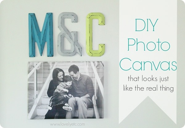 DIY photo canvas and vintage letters