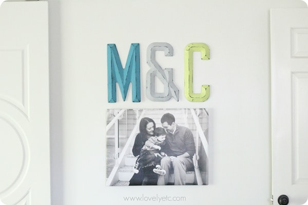 DIY wrapped photo canvas with painted initials