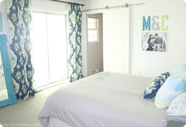 Navy, turquoise, and lime bedroom