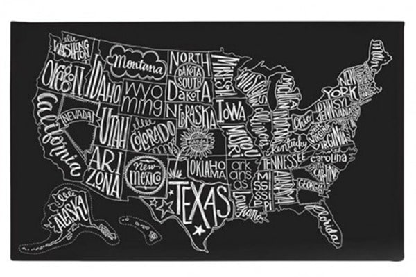 Beautiful And Meaningful DIY Map Art Lovely Etc - Us map chalkboard