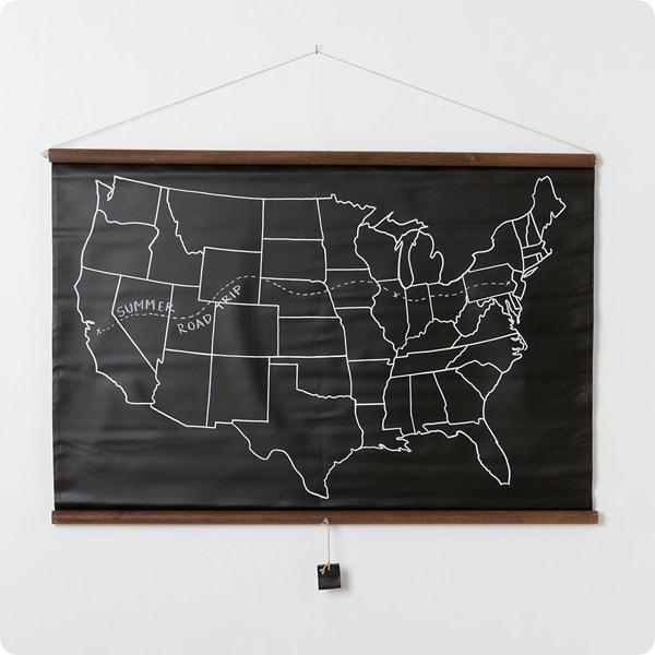 chalkboard pull down map