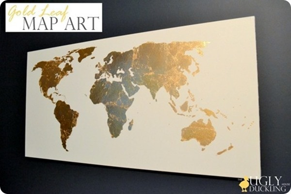 Beautiful and meaningful diy map art lovely etc diy map art gold leaf map art gumiabroncs Gallery
