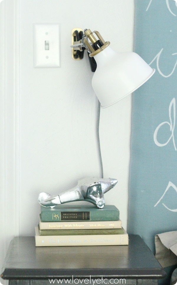 nightstand with Ikea ranarp wall sconce