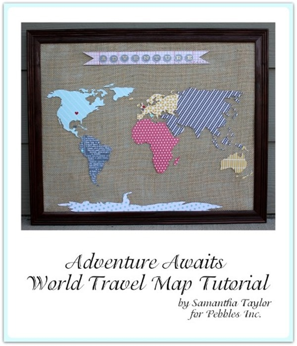 Beautiful and meaningful diy map art lovely etc scrapbook paper world map gumiabroncs Image collections