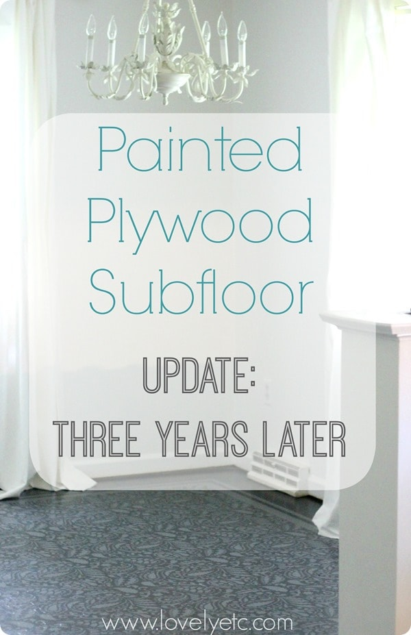 Painted plywood subfloor update three years later lovely etc need an inexpensive flooring solution you cant get much cheaper than these gorgeous solutioingenieria Gallery