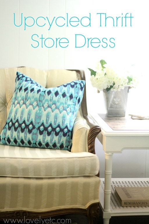 thrift store dress turned home decor lovely etc. Black Bedroom Furniture Sets. Home Design Ideas