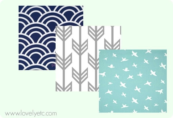 navy scallop fabric, gray arrow fabric, blue bird fabric