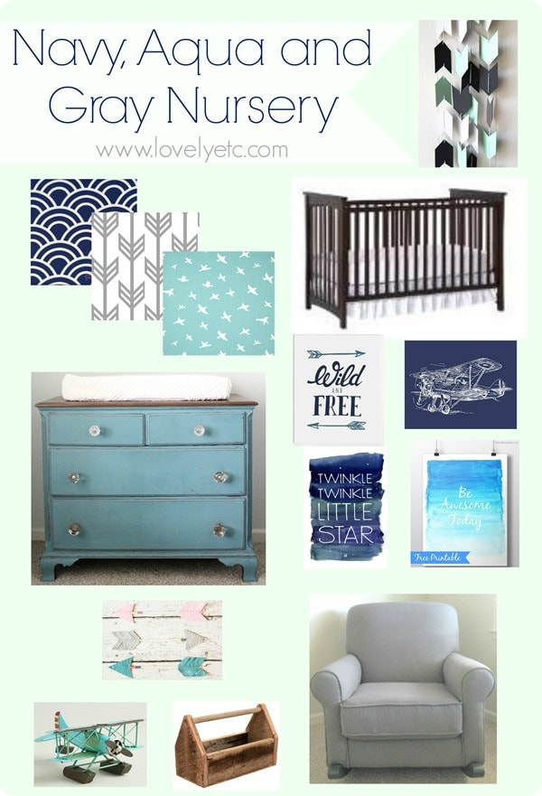 Navy Aqua and Gray Nursery Plan Lovely Etc