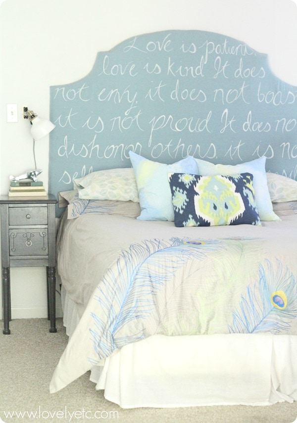 DIY upholstered headboard with colorful bedding