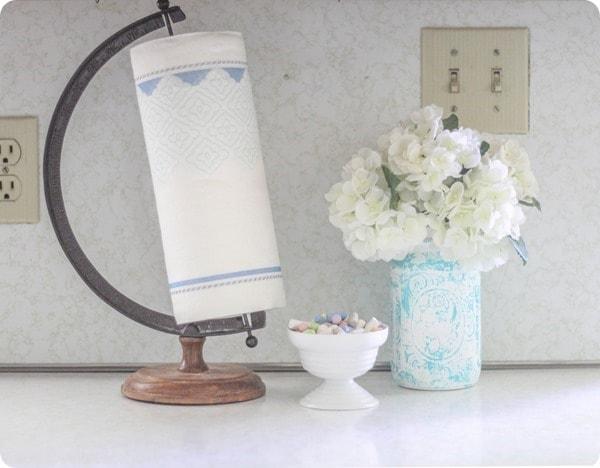 paper towel holder and stamped mason jar