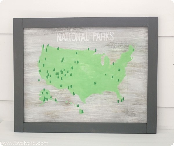 national parks map painted