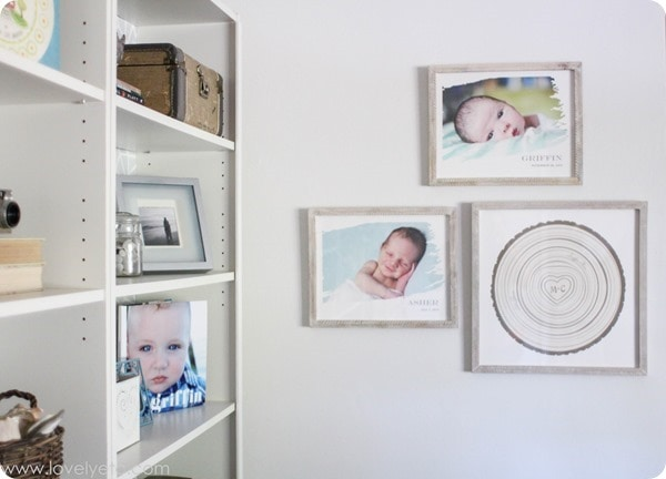 mini gallery wall from newborn photos
