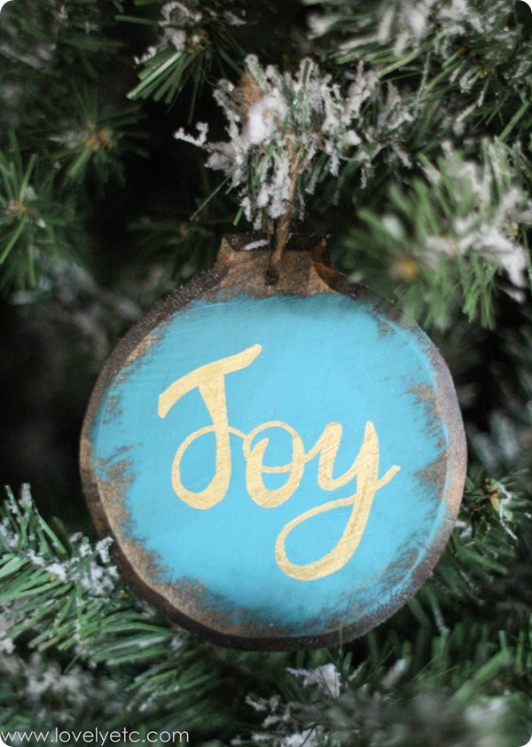 blue and gold joy diy ornament