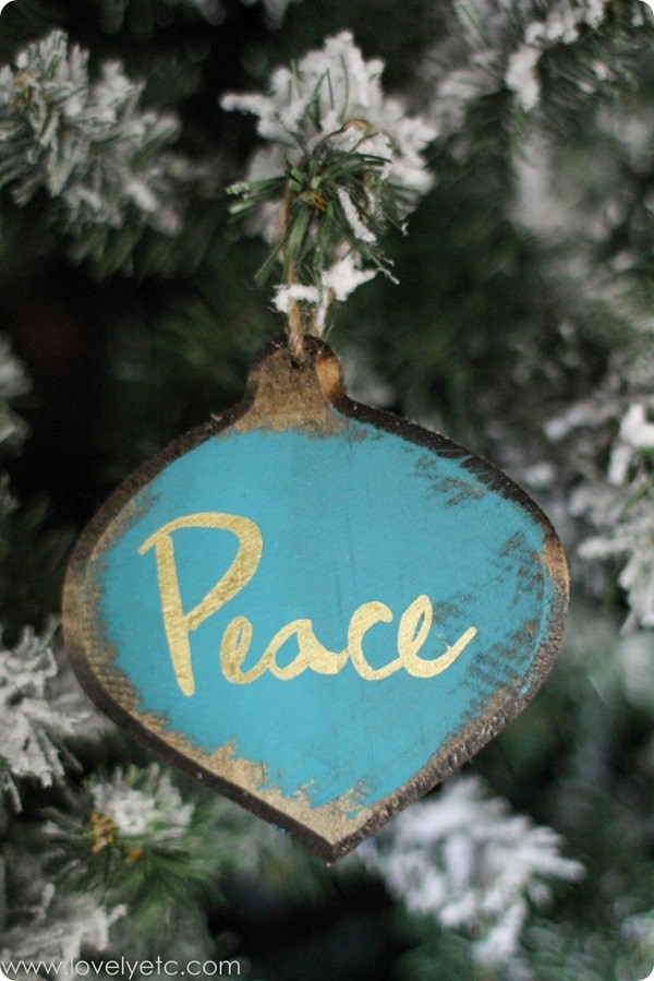 blue and gold rustic glam handmade peace ornament