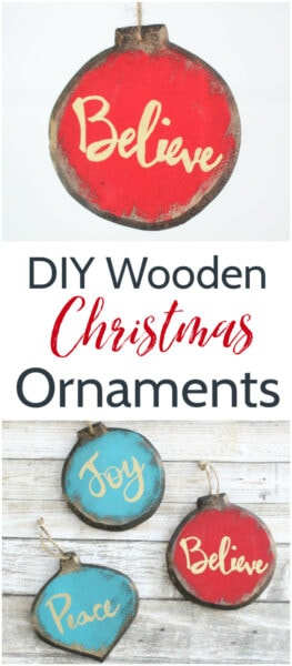 DIY painted wood Christmas ornaments