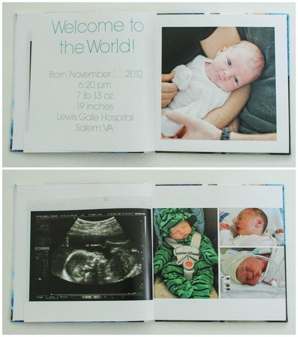 newborn spread in baby book