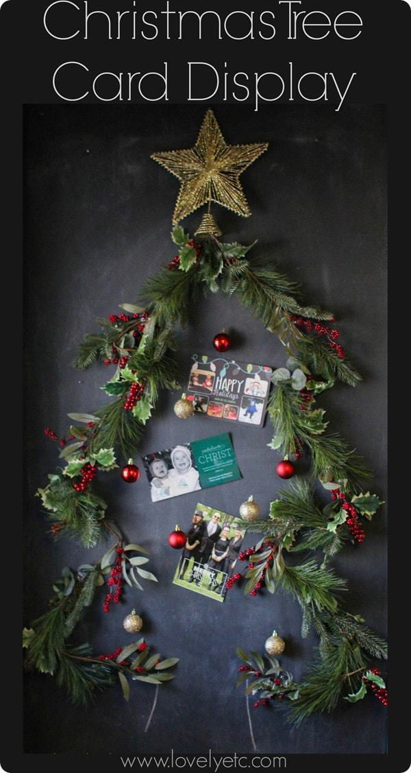 Christmas tree card display on chalkboard