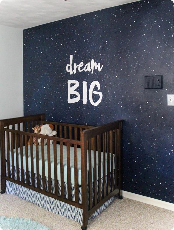 starry night mural in nursery