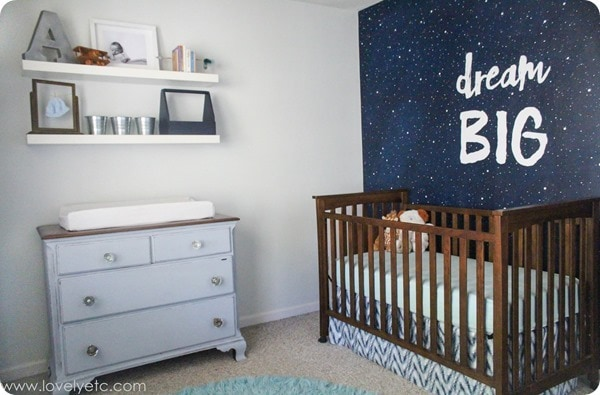 gray and navy nursery with starry night mural