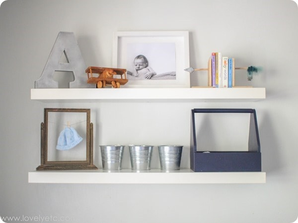 floating shelves in nursery