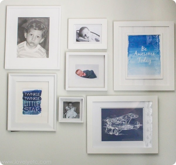 navy black white gallery wall