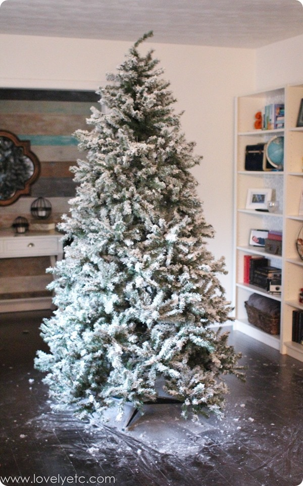 DIY Flocked Christmas Tree: One Year Later. - Lovely Etc.