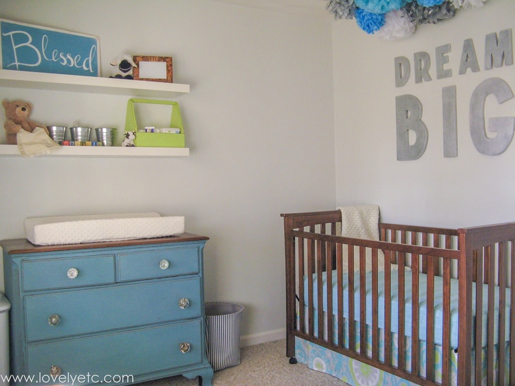 Aqua Gray And Lime Nursery