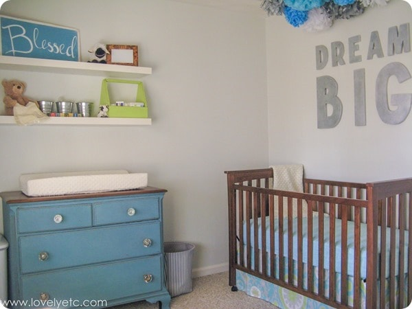 aqua, gray, and lime nursery