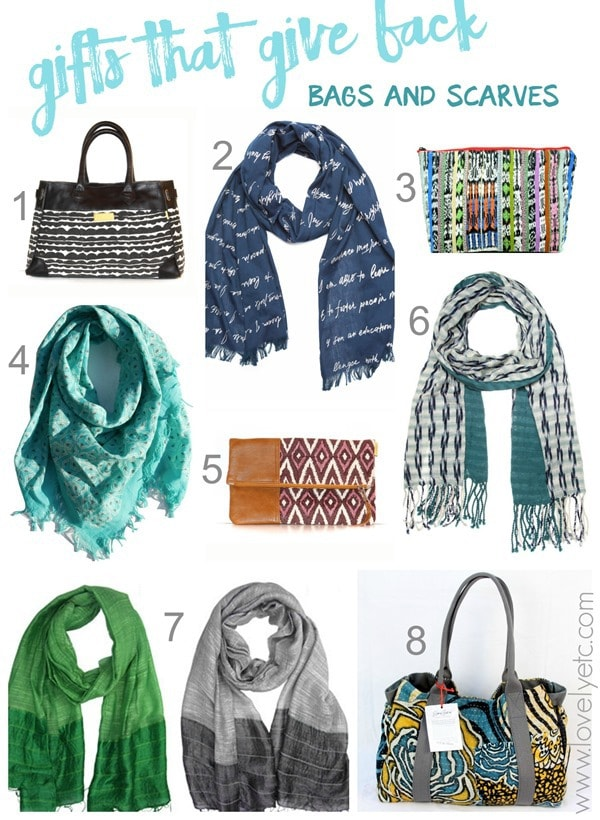 gifts that give back bags and scarves