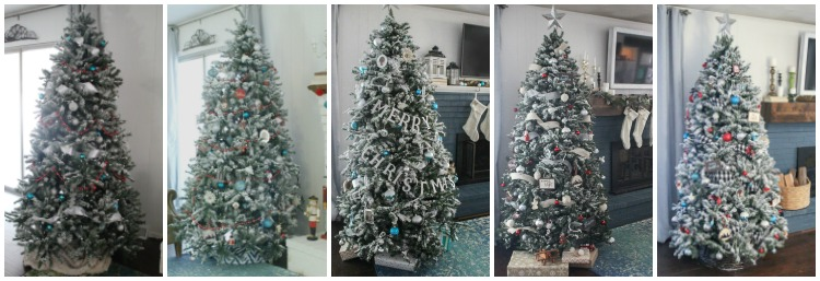Photos of our DIY flocked Christmas tree over the past five years.