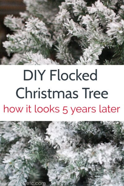 DIY flocked Christmas tree five years later