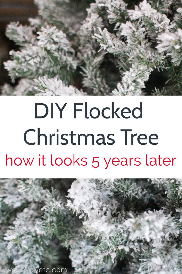 close up of diy flocked Christmas tree after five years