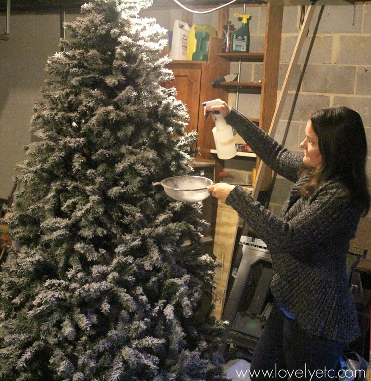 Christmas Tree Sprayer.Diy Flocked Christmas Tree One Year Later Lovely Etc