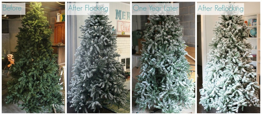 Diy flocked christmas tree one year later lovely etc flocking timeline solutioingenieria