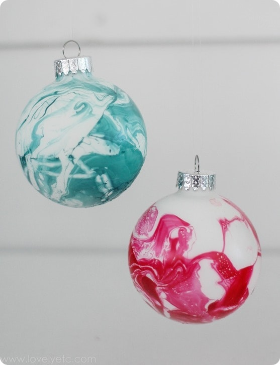 marbled Christmas ornaments in teal and red.