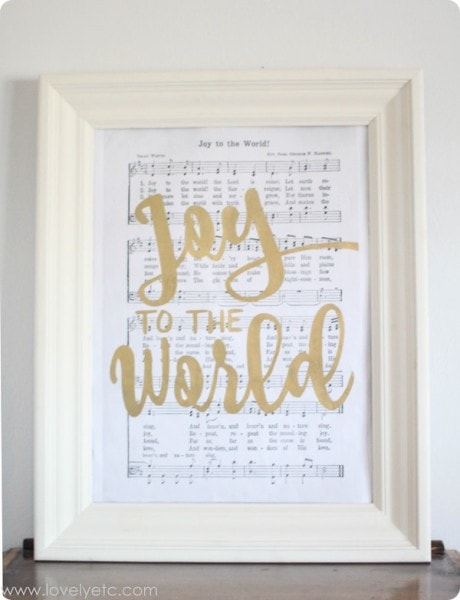 joy to the world art print free shown in picture frame