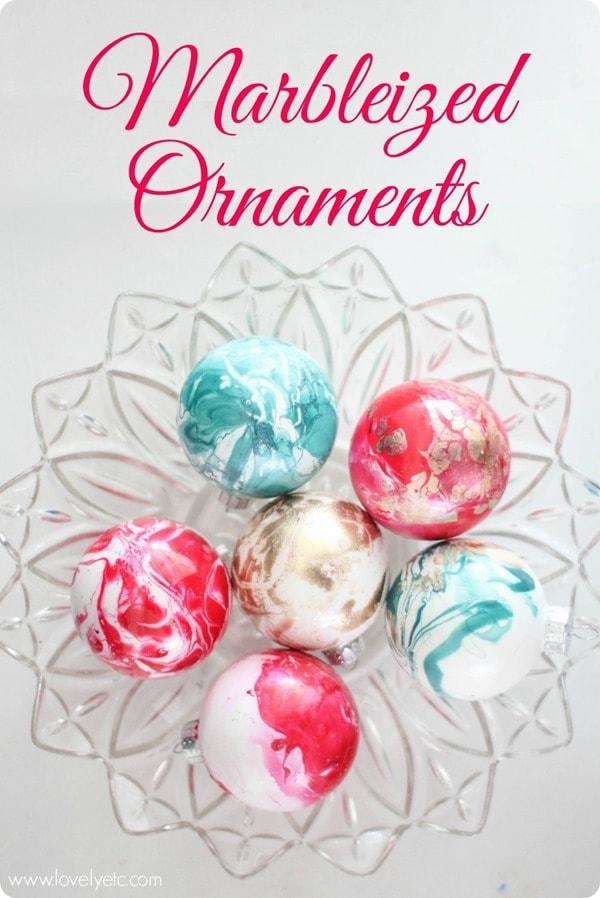 Marbleized Ornaments Lovely Etc