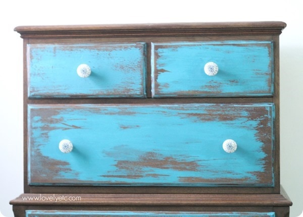 distressed blue dresser top