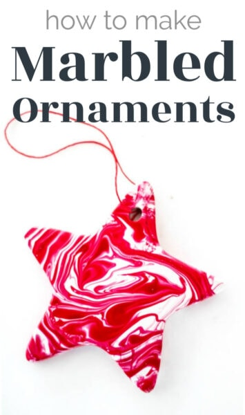 red and white marbled ornament with text that says how to make marbled ornaments.