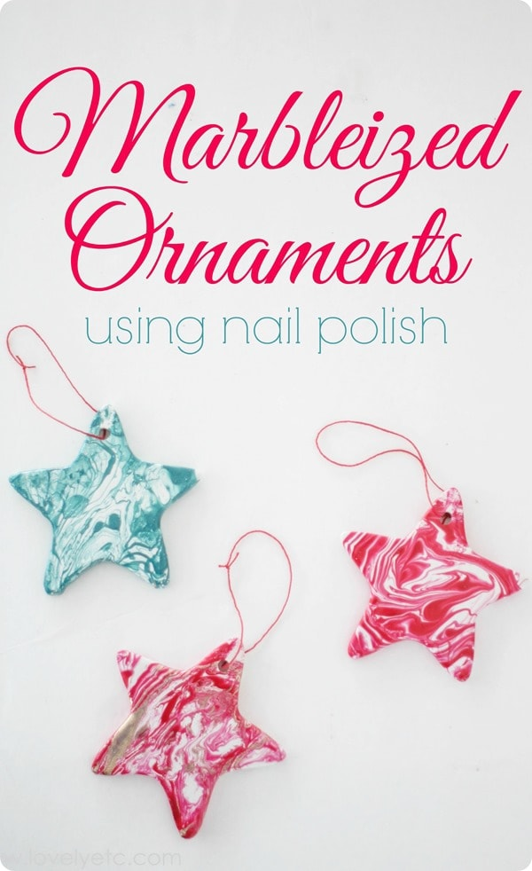 marbleized ornaments red white and teal stars