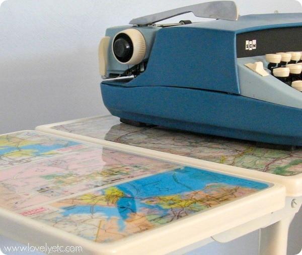 Map furniture typewriter stand
