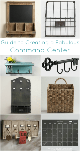 key hooks, baskets, and organizers to make a family command center with