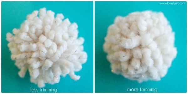 less and more trimming yarn pom poms